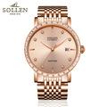 SOLLEN Men s automatic mechanical watch ultra thin diamond watch scale calendar display 40mm diameter rose