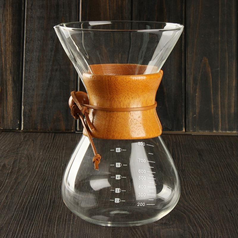 6 Cups Classic Glass Drip Pot Espresso Coffee Maker Chemex Style Pour Over Coffeemaker Coffee Machine Manually Coffee Drip(China (Mainland))