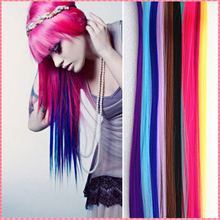 (#JO006) Long Solid Color Snythetic Clip On In Hair Extensions Straight Hairpiece Party Highlights Punk fluorescence wig periwig