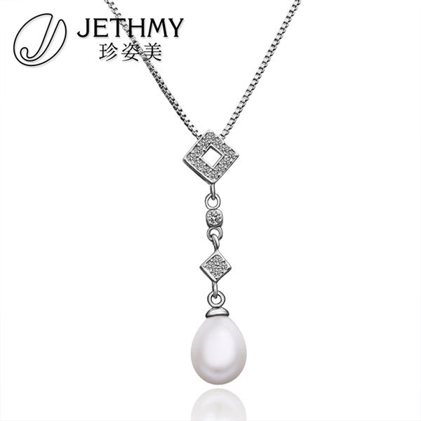 N005 Hot Sale Women Necklace Wholesale 18K Gold Plated Austrian Crystal Long Necklace Pearl Jewlery Vintage