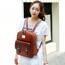 Brand New Fashion Women Backpack Mochila Zipper Faux Leather Backpack Travel Bags School Bag For Girls ZF0047(China (Mainland))
