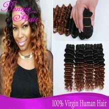 Best Virgin Brazilian Deep Wave Hair 4 Bundle Ombre Hair 1B 30 Ombre Brazilian Hair 4Pcs Lot Human Hair Clips Extensions Brown