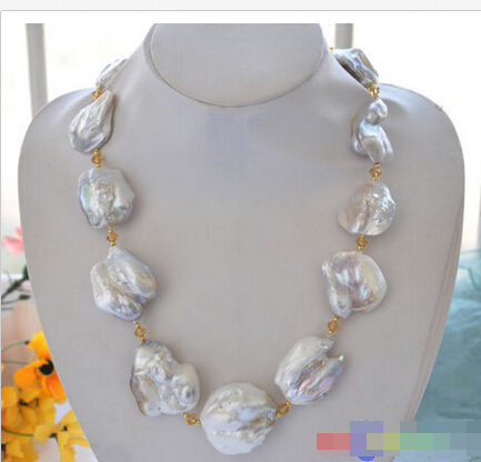 A HUGE nature 42mm baroque white KESHI REBORN PEARL citrine NECKLACE 23inch<br><br>Aliexpress