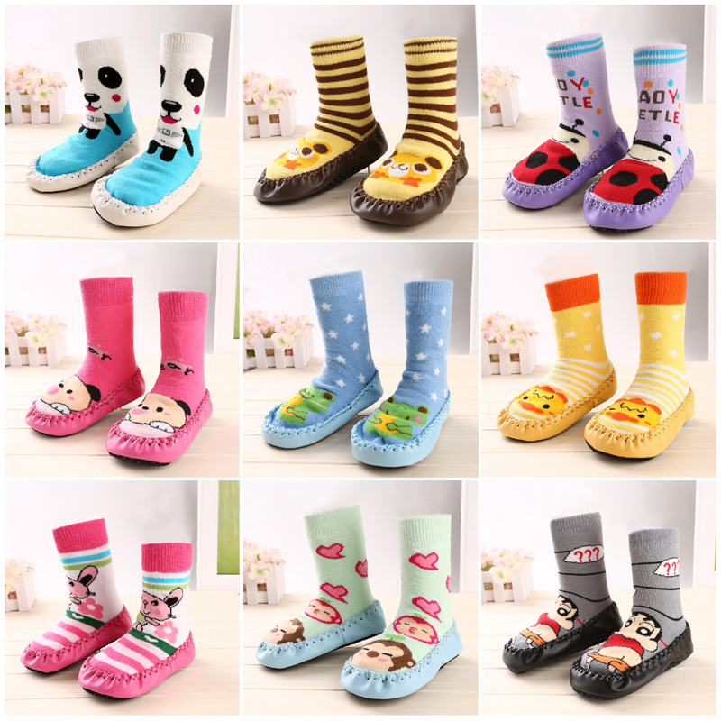 2015 Famous brand socks with leather soles fashion cartoon animal meia antiderrapante baby kawaii casual chaussette enfants(China (Mainland))