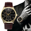 Men s Watch Retro Design Leather Band Analog Alloy Quartz Wrist Watch Business Style Man Male