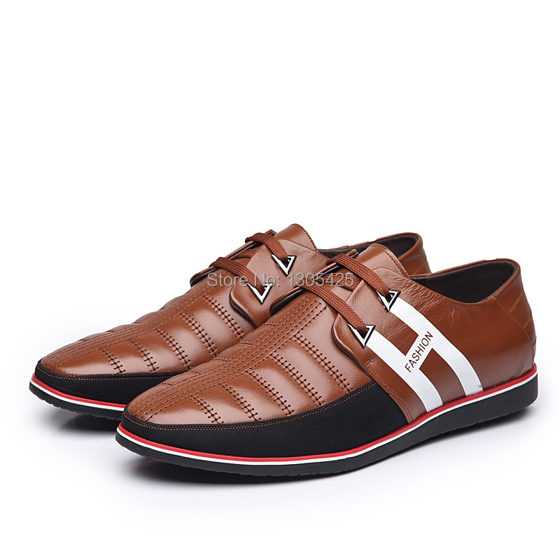 Men Genuine Leather Lace-Up Formal Wear Breathable Flats Man Classic boat shoes Walking Shoes