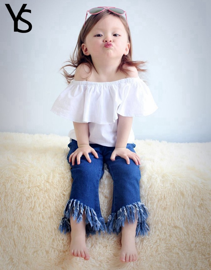 4-12T 95% Cotton Little Girls Shirt Off The Shoulder White T Shirt Kids Top Children Clothes Tolder Clothing Child Summer Blouse