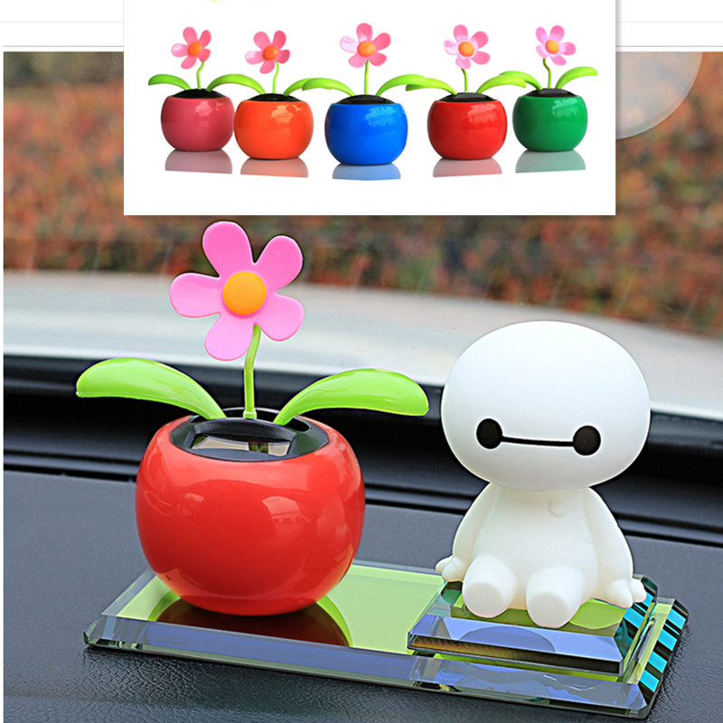 2016 new car creative ornaments Sunflower solar car interior ornaments perfume seat supplies cute BayMax car Ornaments(China (Mainland))