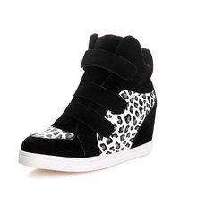 COOTELILI marka sonbahar kadın rahat ayakkabılar leopar süet yarım çizmeler topuklar platformu kama yüksekliği artan spor ayakkabı kadın(China)