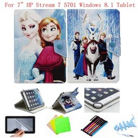 "Cartoon Congelados Ice Snow Queen Princess Elsa Anna Olaf Leather Case Cover For 7"" HP Stream 7 5701 Windows 8.1 Tablet"