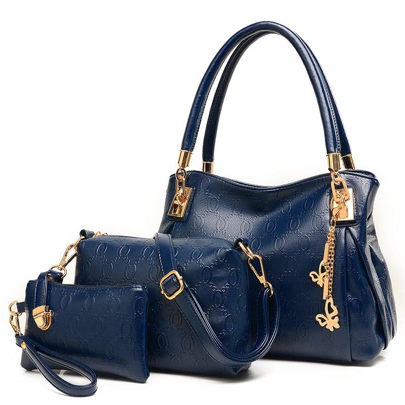 Women Handbags Leather Zipper Shoulder Bag Printing High Quality Tote Bag Female Buy One Get Three Bags Bolsos Sac De Femme(China (Mainland))
