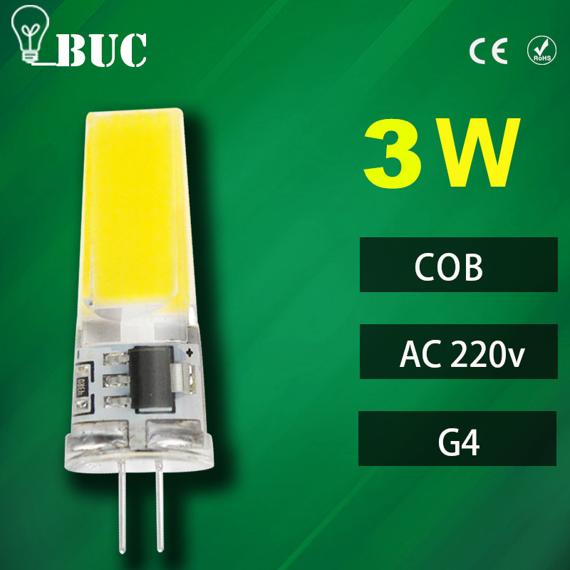 Dimmable COB LED Bulb G4 LED Lamp 1w 2W 3w AC 220v LED G4 COB Light 360 Beam Angle Chandelier Lights Replace Halogen G4 Lamp(China (Mainland))