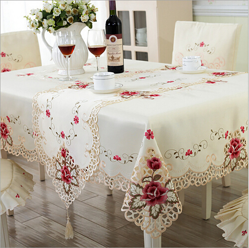 New Design Elegant Polyester Embroidery Tablecloth Embroidered Floral Cutwork Table Cloth Covers Runners with Lace Edge Hot Sale(China (Mainland))