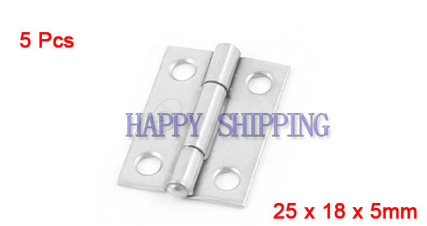 5 Pcs Silver Tone Stainless Steel Cabinet Door Butt Hinges 25mm x 18mm(China (Mainland))