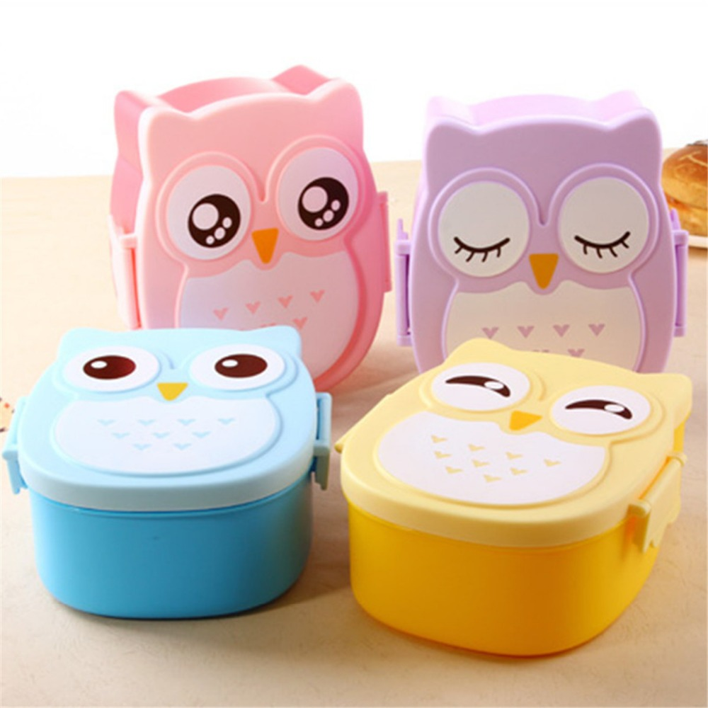 Cute Owl Plastic Lunch Box Children Students Cartoon Lunch Box Case Bento Box Portable Picnic Dinnerware Thermal Bag With Spoon(China (Mainland))