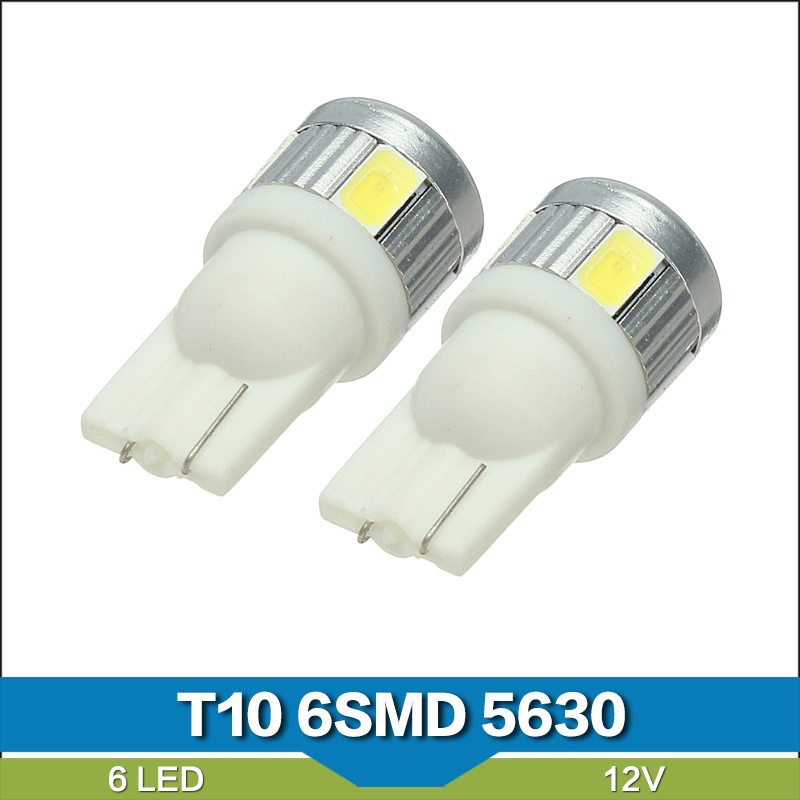 Free Shipping 100 x T10 194 168 6SMD 5630 LED Car Indicator Wedge License Plate Dome Light(China (Mainland))