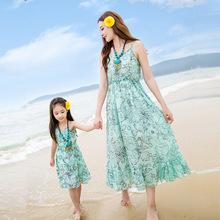 summer beach 2016 new green chiffon dress mother and daughter dress
