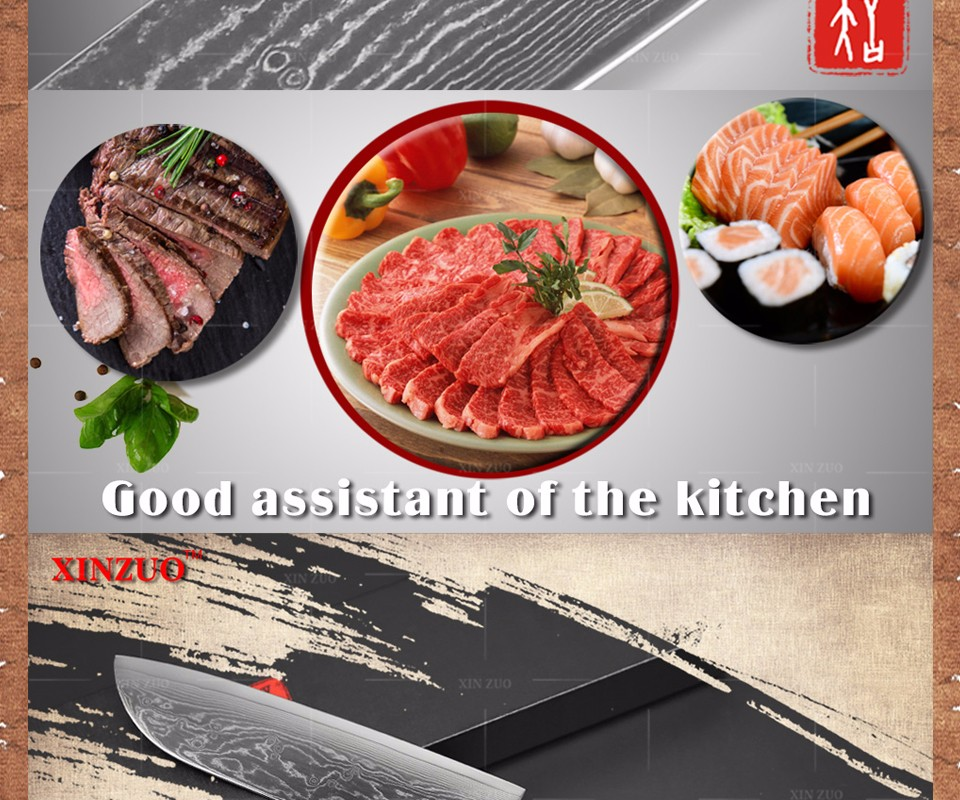 Buy XINZUO 7 inch chef knife Japanese VG10 Damascus steel kitchen knife santoku knife wholesale forged wooden handle FREE SHIPPING cheap