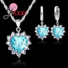 אופנה בצורת לב קריסטל תליון 925 כסף סטרלינג שרשרת לולאה עגיל חתונת תכשיטי סטי כחול זירקון אבזר(China)