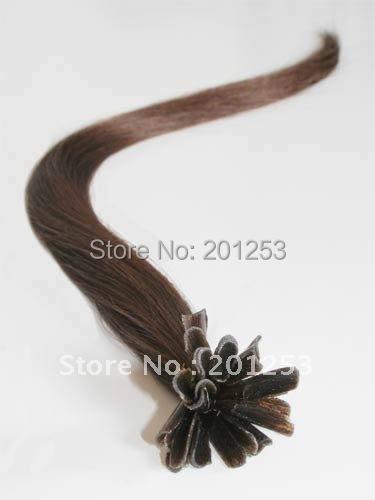 20 Popular Pre-Bonded Nail Hair U Shape 100% Human Hair Made Hair Extensions, Chocolate Brown #4, 0.5g,100pcs/lot Free Shipping<br><br>Aliexpress
