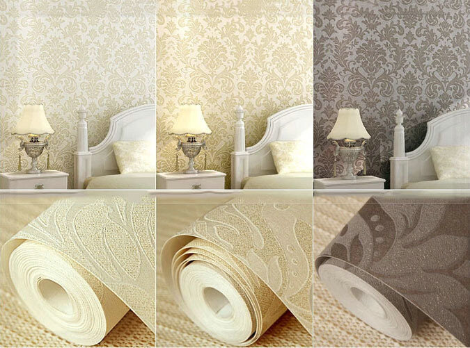 Beige champagne ochre european luxurious damask non woven for 3d wallpaper bedroom ideas