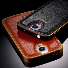 S4 Case Luxury Korean Style Hard Metal Aluminum Frame Leather Case For Samsung Galaxy S4 I9500 SIV Super Slim Phone Back Cover(China (Mainland))