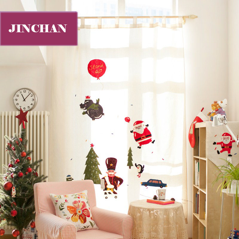 Christmas Embroidered Cotton Linen Window Curtains For Living Room The Bedroom Drapes Christmas