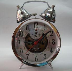 Classic nostalgic hefei copper gear double bell gear mechanical alarm clock(China (Mainland))