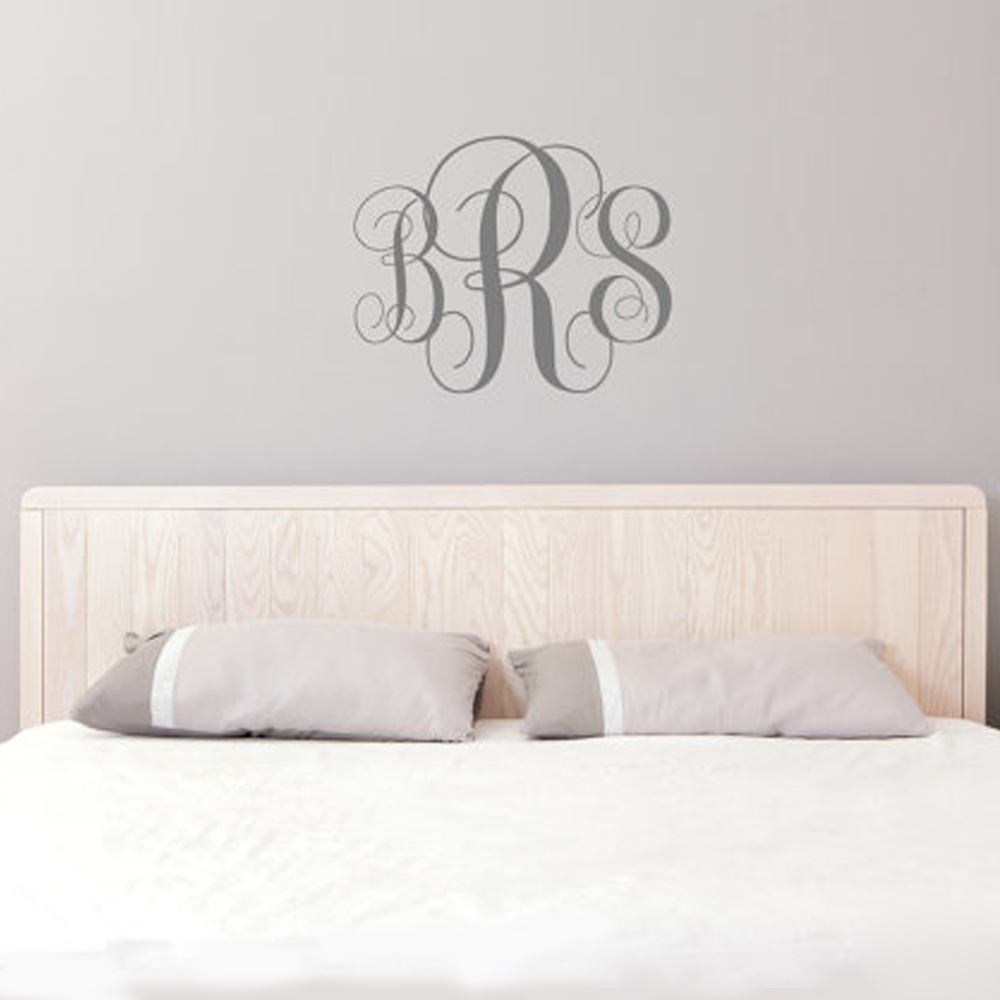 buy monogram wall decal personalized initials college dorm room monogrammed. Black Bedroom Furniture Sets. Home Design Ideas