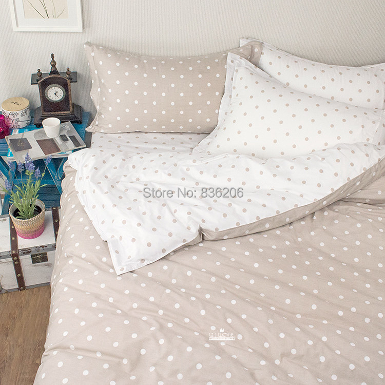 Modern 4pcs Grey And White Polka Dot Cheap Cotton Bedding