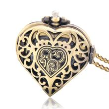 New relogio bolso Retro Bronze Quartz Necklace Chain Peach Heart Hollow Pendant Pocket Watch(China (Mainland))