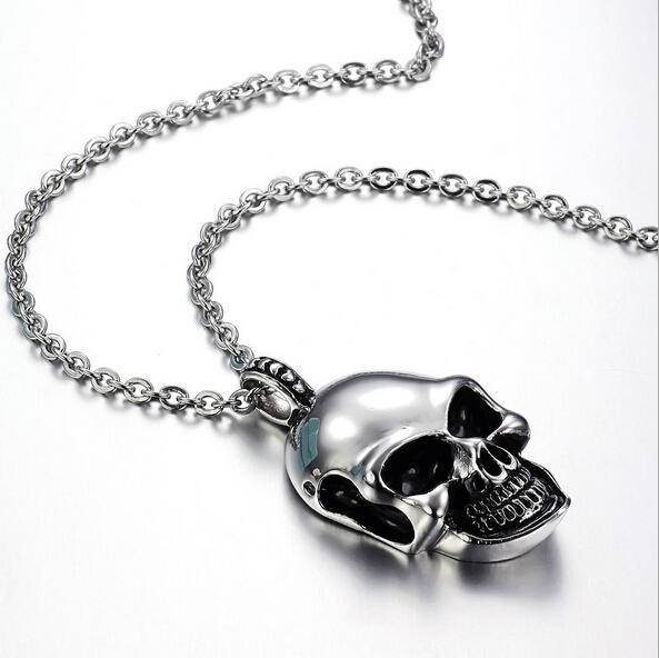 Korean jewelry New Fashion Jewelry Single product cool skull pendant necklace Titanium steel - joycolor store