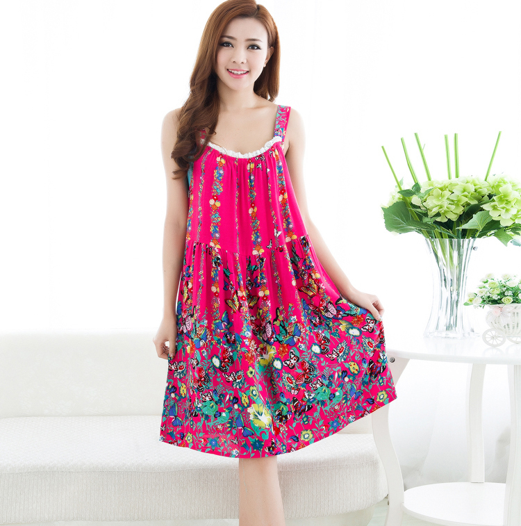 Women cotton nightgown sleeveless night shirt floral Long cotton sleep shirts