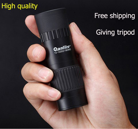 2015 HOT SALE Dual Focus 10x-100x Pocket mini monocular telescope hd for Travel Hunting bestowal a tripod Free shipping(China (Mainland))