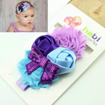 Retail baby headband infant pearl chiffon flower hairband children shabby flower headband kids photography props