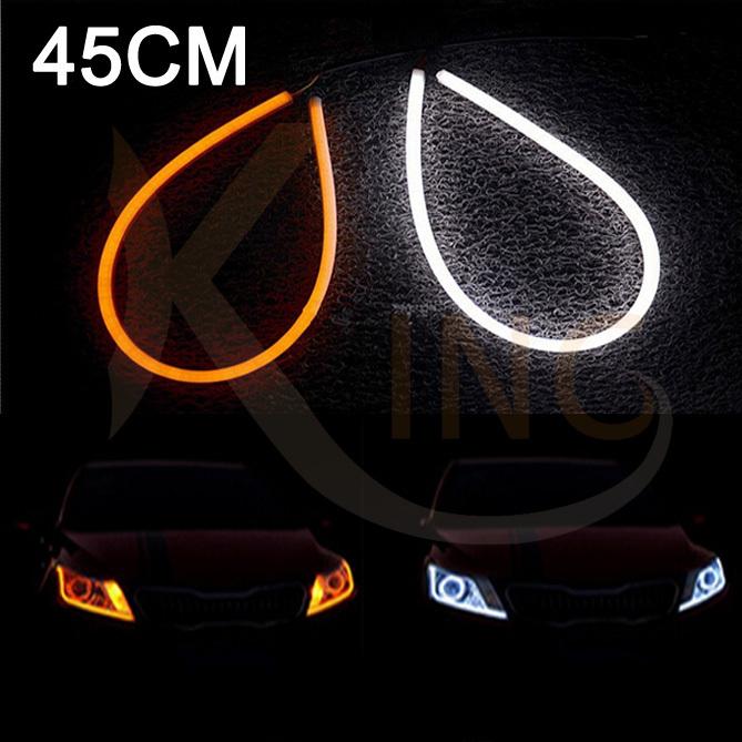 45cm DIY White+Yellow Flexible Strip Turn Signal Tube Angel Eye DRL LED Daytime Running Fog Head Headlight Light For Audi(China (Mainland))