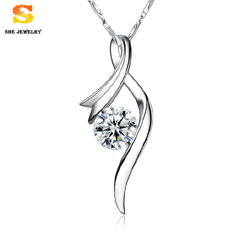 New women Necklace Fashion Cubic Zirconia Pendant Holding A Crystal Shape Design 925 Sterling Silver Pendant floating charms(China (Mainland))