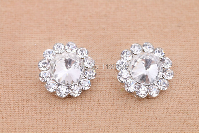 50pcs/lot 14mm Round Sun Flower Shape Crystal Rhinestone Decorative Button with Loop For Wedding Decoration/Hair Accessories(China (Mainland))