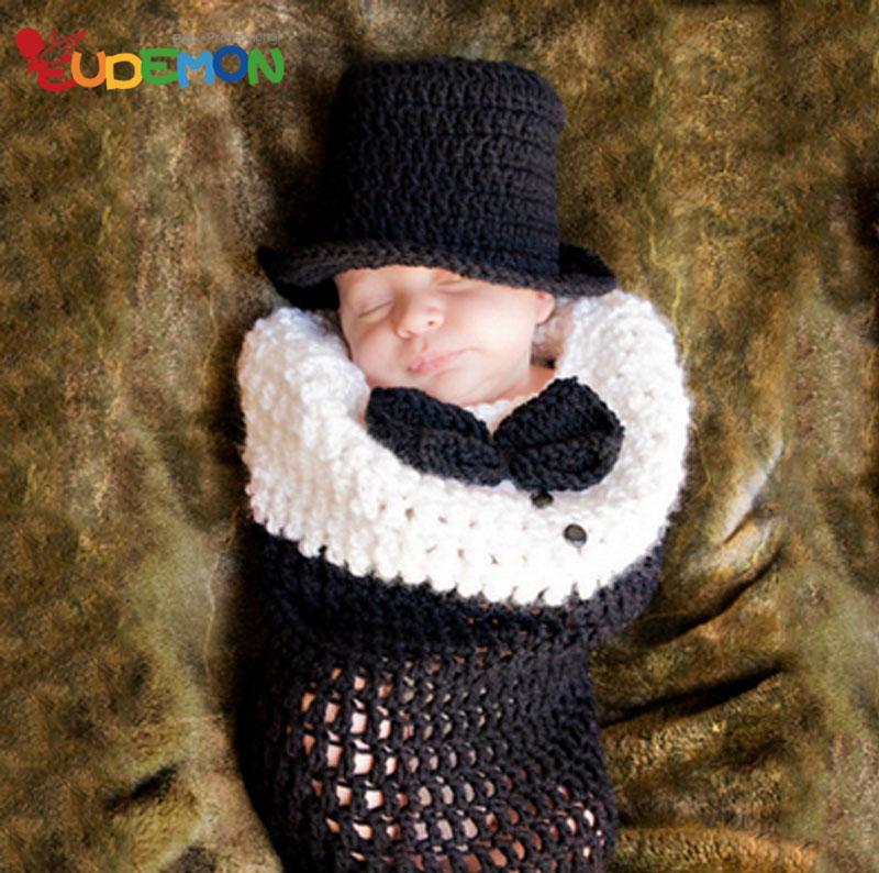 [Eudemon] 2016 newborn fotografia fashion newborn crochet outfits for infant baby gentleman newborn photography props(China (Mainland))