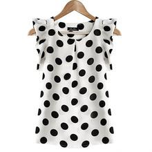Модная одежда для девочек в горошек блузка для женщин Повседневное шифоновая рубашка без рукавов рубашка с рюшами летние топы корректирующ...(China)