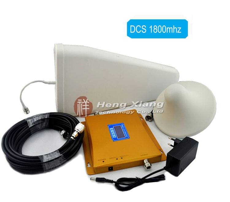 LCD Display DCS 1800MHz Mobile Phone Signal Booster DCS980 Signal Repeater with Log Periodic Antenna / Ceiling Antenna / Cable(China (Mainland))