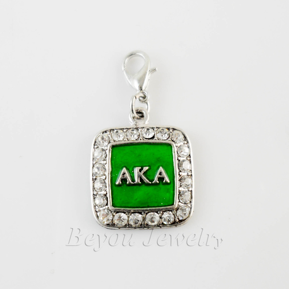 SORORITY GREEK  AKA  enamel  charm with lobster clasper  AKA square crystal charm 5pcs 1lot<br><br>Aliexpress