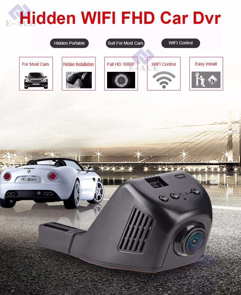 Купить E-ACE Автомобильный Видеорегистратор WIFI Dvr Двойной Объектив Камеры Регистратор Скрытая Автомобильный Видеорегистратор Цифровой Видеорегистратор Видеокамера Full HD 1080 P Ночь версия
