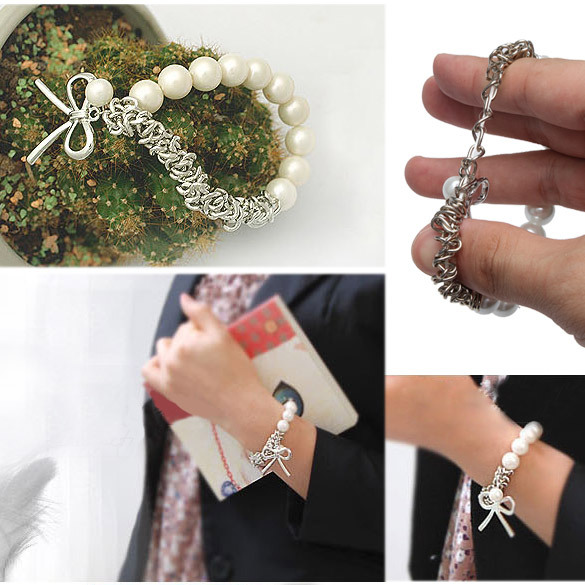 Free Shipping Chain Cute Bowknot White Faux Pearl Braclet(China (Mainland))