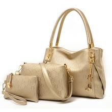 Brand Women PU Leather Handbags Fashion Women Messenger Bags ladies Casual Tote Solid Bags bolsa feminina 2016 new 3 set