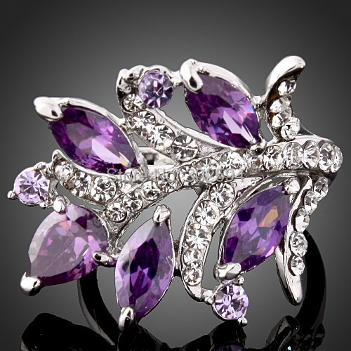 Amethyst hot Crystal wholesale cute lovely 925 sterling silver women Wedding ring high quality fashion classic