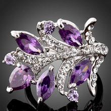 Amethyst hot Crystal wholesale cute lovely 925 sterling silver women Wedding ring high quality fashion classic Jewelry