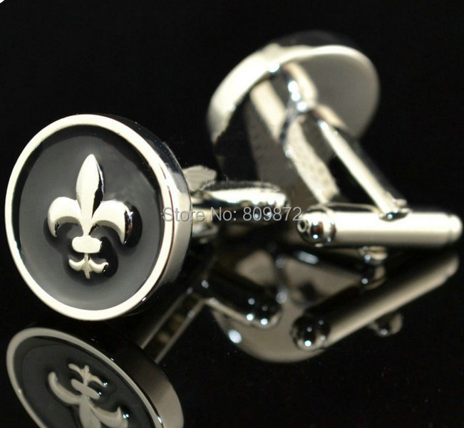 Promotion! Cuff Links wholesale&retail round design black color copper material for men free shipping(China (Mainland))