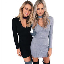 Buy 2016 New Style Women Casual Solid Color Bodycon Dress Hot Selling Autumn Female Long Sleeve O-Neck Sheath Mini Length Dresses for $5.59 in AliExpress store