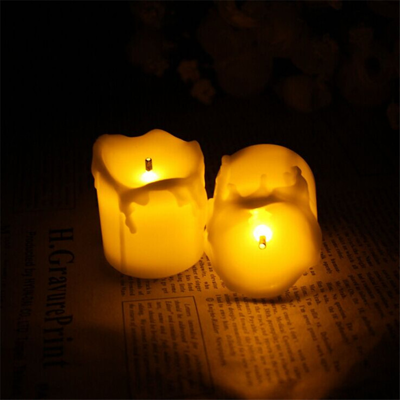 12pcs Flameless Candles With Timer/Electric Amber Yellow Candle LED Tea Light Home Dinner Room Party Decor/Big Votive Candles(China (Mainland))